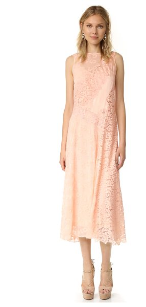 Rebecca Taylor sleeveless chevron lace dress in ballet - Mixed materials in a single tone lend a subtle patchwork...
