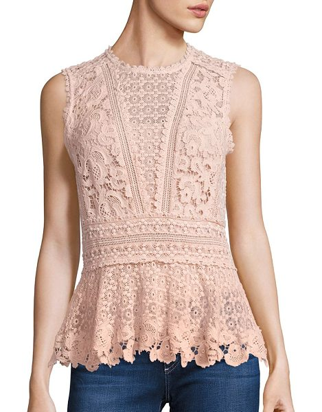 Rebecca Taylor sleeveless lace peplum top in ballet - Attractive lace elevates this tailored top. Scalloped...