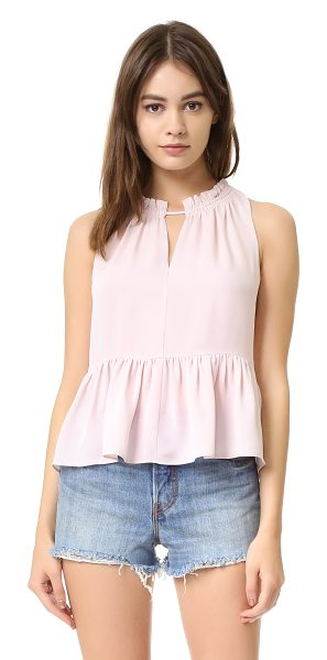 Rebecca Taylor Sleeveless peplum top in sheer pink - A feminine Rebecca Taylor top with ruffles at the...