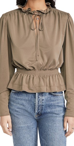 Rebecca Taylor slit neck blouse in taupe