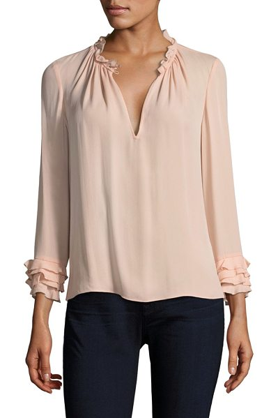 REBECCA TAYLOR ruffled silk top - Silk top with ruffle trim at neck and cuffs. Split...