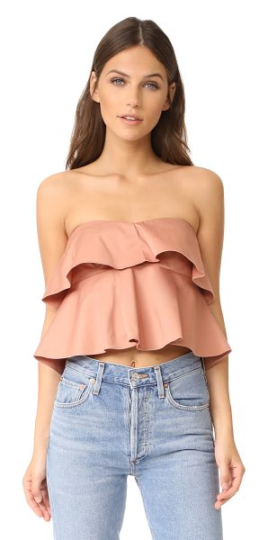 Rebecca Taylor strapless ruffle top in nude glow - Layered ruffles bring soft volume to this flirty,...