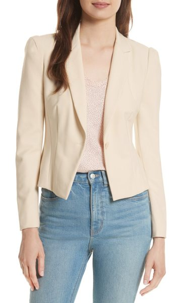 Rebecca Taylor stretch suiting jacket in cream combo - The power jacket gets a fresh infusion of feminine style...