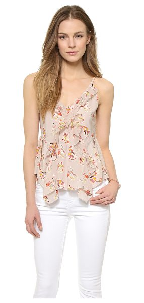 Rebecca Taylor Tiger ruffle cami in blush - Abstract tiger prints create bold graphic edge on a silk...