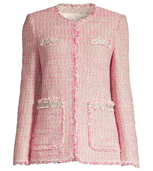 Rebecca Taylor tonal fringe tweed jacket in pink combo