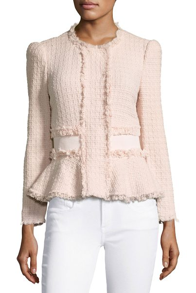 Rebecca Taylor Tweed Fringe-Trim Peplum Jacket in ballerina pink - Rebecca Taylor jacket in tweed with fringe trim. Round,...