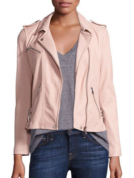 Rebecca Taylor washed leather cropped jacket in nude - Washed leather jacket in a cropped silhouette. Notched...