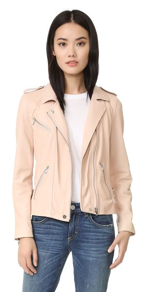 Rebecca Taylor washed leather jacket in nude - A classic Rebecca Taylor moto jacket updated with a...