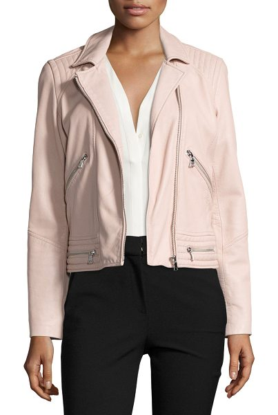 Rebecca Taylor Washed Leather Motorcycle Jacket in pink - Rebecca Taylor moto-style jacket in washed lambskin...