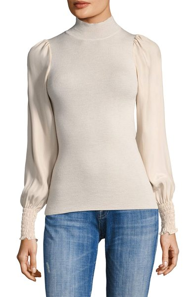 REBECCA TAYLOR wool & silk turtleneck sweater in champagne - Wool-blend top with shirred detailing. Mockneck. Long...