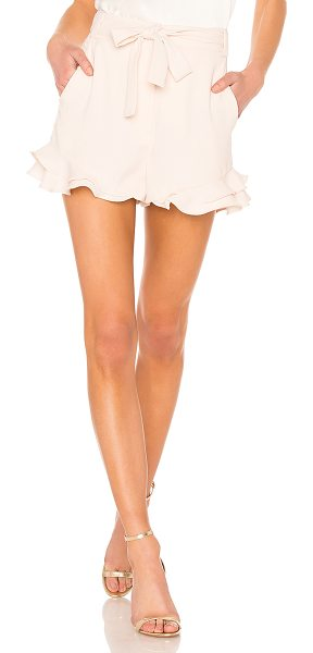 "Rebecca Vallance Bellisima Short in pink - ""Poly blend. Dry clean only. Zip fly with hook and bar..."