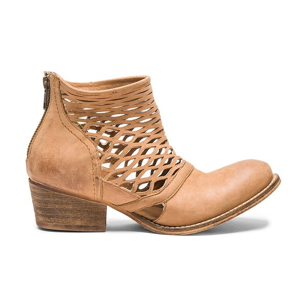 Rebels Cali bootie in brown - Leather upper with man made sole. Laser cut-out detail....