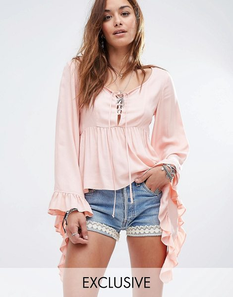 Reclaimed Vintage Bell sleeve boho top in pink - Top by Reclaimed Vintage Soft-touch woven fabric...