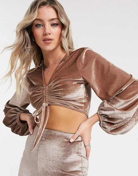 Reclaimed Vintage inspired crushed velvet crop top with blouson sleeve and ruched detail-beige in beige