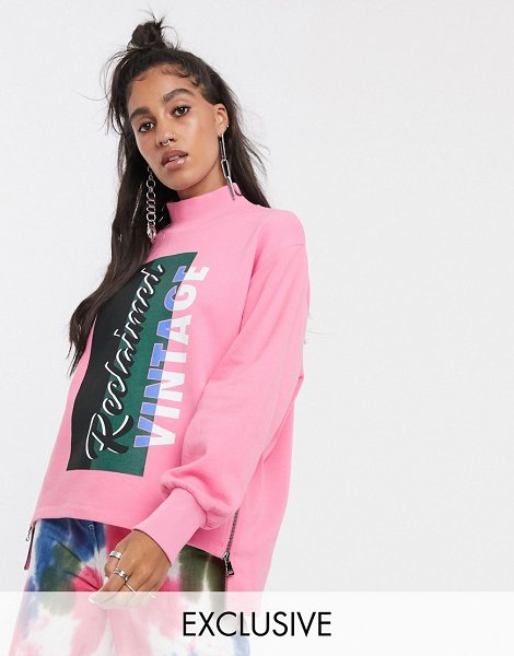 Reclaimed Vintage inspired high neck sweat with zip side detail and logo print-pink in pink