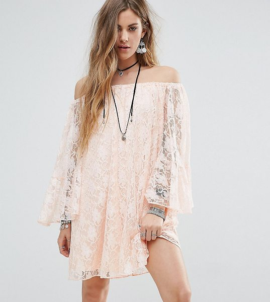 "Reclaimed Vintage Inspired Off The Shoulder Swing Dress In Lace in pink - """"Dress by Reclaimed Vintage, Sheer lace, Partially..."