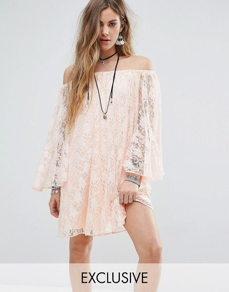 Reclaimed Vintage Inspired Off The Shoulder Swing Dress in pink - Dress by Reclaimed Vintage, Sheer lace, Partially lined,...