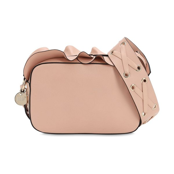 Red Valentino Ruffled leather camera bag in nude