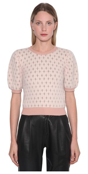 Red Valentino Angora blend lurex intarsia sweater in nude