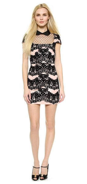 RED VALENTINO Collared lace & point desprit dress in nude - Fused velvet forms a pretty floral pattern on this girly...