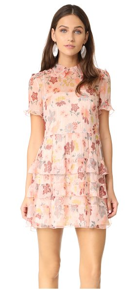 Red Valentino collared ruffle dress in nude - This feather-light RED Valentino floral dress is...