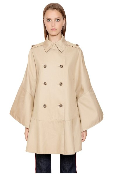 Red Valentino Double breasted cotton cape trench coat in beige - Shirt style collar . Double breasted front button...
