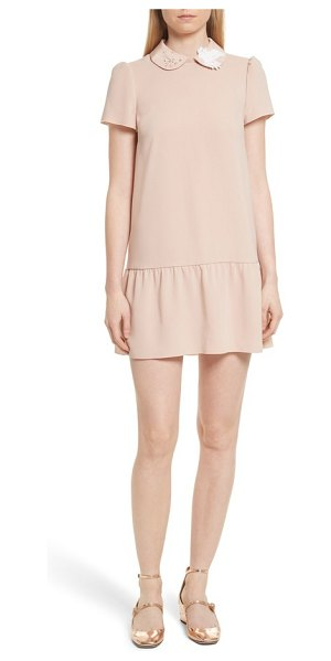 Red Valentino drop waist crepe dress in camel - Glimmering crystals and snowy feathers trim the Peter...