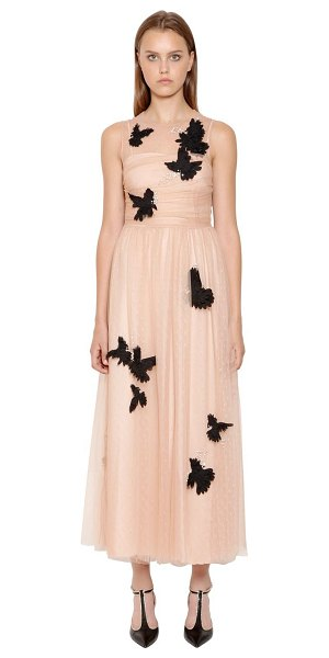 Red Valentino Embellished swiss dot lace dress in pink - Round neckline . Sleeveless . Concealed back zip closure...