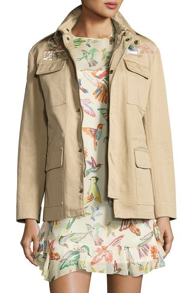 Red Valentino Embroidered Military Jacket in sand - RED Valentino military jacket with colorful hummingbird...