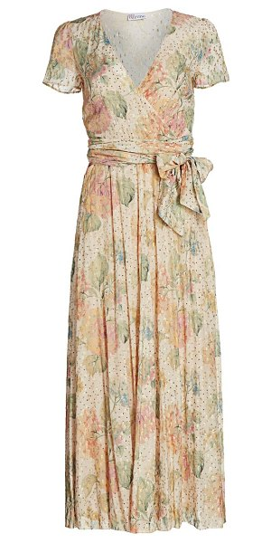 Red Valentino floral metallic dotted wrap midi dress in rose