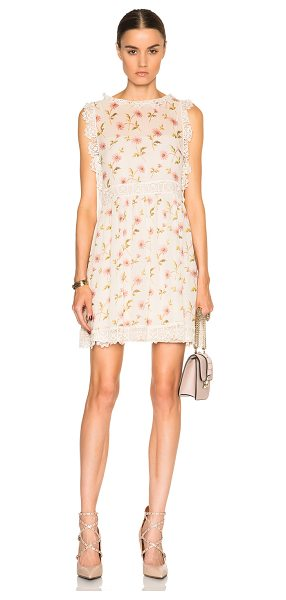 Red Valentino Floral Mini Dress in floral,neutrals - 100% silk.  Made in Hungary.  Fully lined.  Sheer...