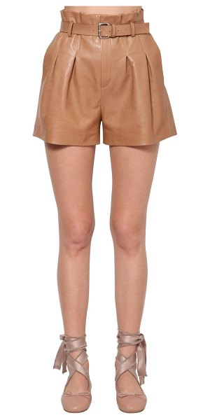 Red Valentino High waist belted leather shorts in camel