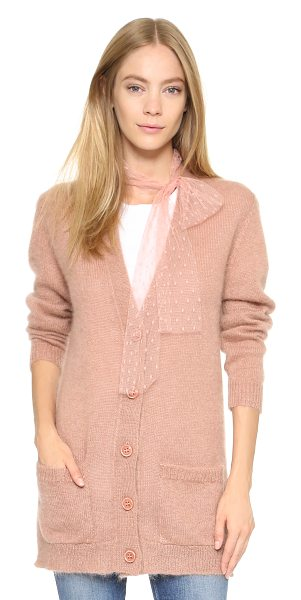 RED VALENTINO Knit cardigan - Embroidered mesh ties at the neckline lend a unique look...