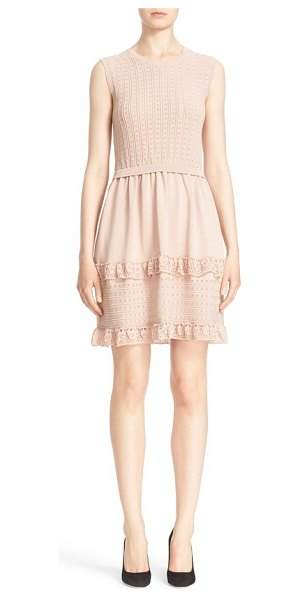 Red Valentino knit fit & flare dress in nude - Crocheted ruffles and delicate pointelle stitching...
