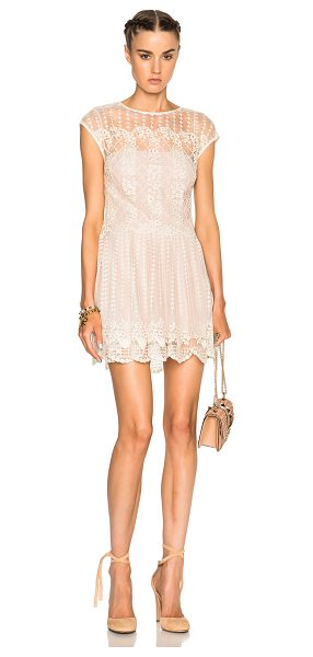 Red Valentino Lace Mini Dress in neutrals - 100% poly.  Made in China.  Fully lined.  Lace knit...
