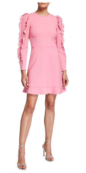 Red Valentino Long-Sleeve Cady Tech Dress with Ruffles in peach