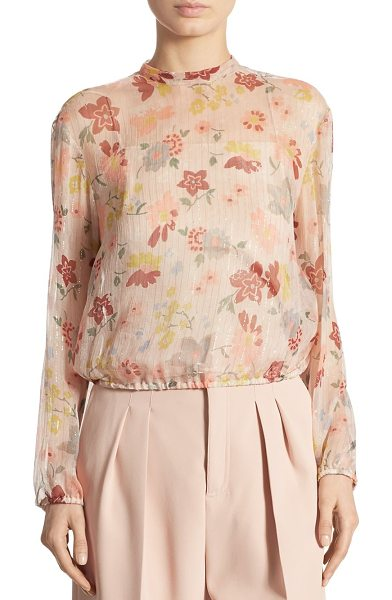 Red Valentino metallic floral-print blouse in nude - Sheer floral blouse with shimmering metallic stripes....