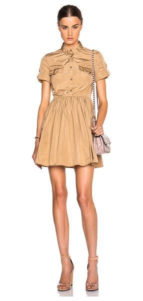 Red Valentino Military pocket dress in neutrals - 100% poly.  Made in Italy.  Unlined.  Button front...