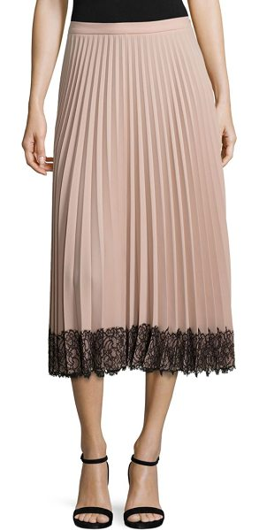 Red Valentino pleated lace hem midi skirt in poudre
