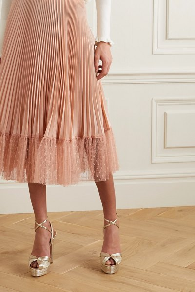 Red Valentino pleated point d'esprit tulle-trimmed satin midi skirt in blush