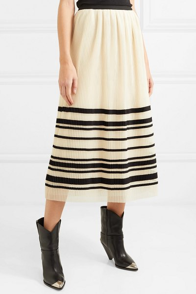 Red Valentino pleated striped tulle midi skirt in cream