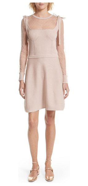 Red Valentino point d'esprit cotton dress in nude - RED Valentino's girly femininity is on full display on...