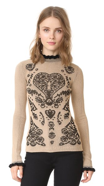 Red Valentino printed sweater in desert/black - A formfitting RED Valentino sweater with a dark heart...