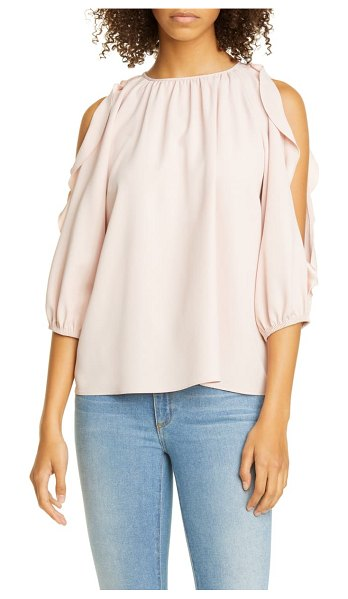 Red Valentino ruffle cold shoulder top in pink