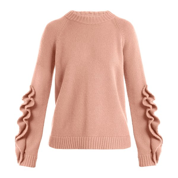 Red Valentino Redvalentino - Ruffle Trim Wool Sweater in nude - REDValentino - Introduce a whimsical slant to your...