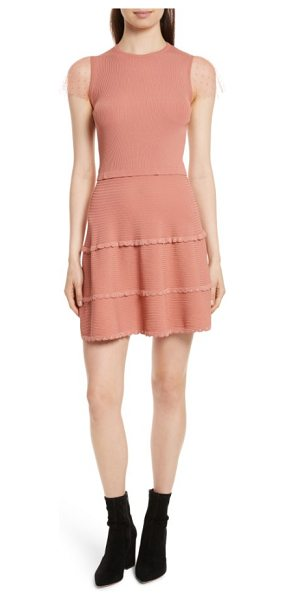 Red Valentino scallop stretch knit dress in antique rose light - Sheer point d'esprit sleeves further the sweetly...