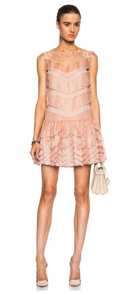 Red Valentino Scalloped silk tulle dress in pink - Self: 100% silk - Contrast Fabric & Lining: 100% poly. ...