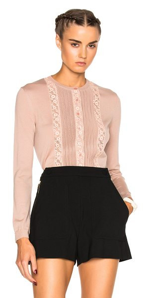 Red Valentino Shear cardigan sweater in pink,neutrals - Self: 100% wool - Contrast Fabric: 100% cotton.  Made in...
