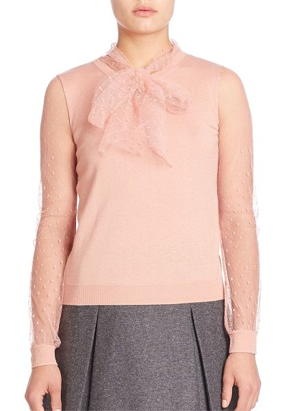 Red Valentino Sheer long sleeve knit blouse in nude - Delicate knit blouse with cute bow style neck-tie....