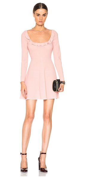 Red Valentino Sheer yoke mini dress in pink,neutrals - Self: 100% virgin wool - Contrast Fabric & Lining: 100%...